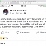 Mr G's Sends FB Message to explain absence from ARTBF18